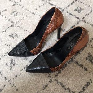 Zara faux snakeskin pumps